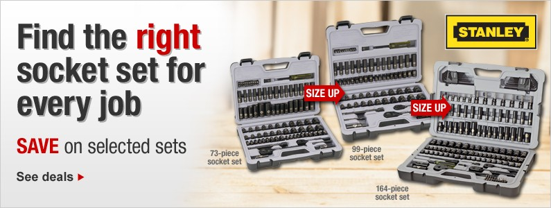 Socket sets from basic to large jobs. SAVE on selected sets. See deals.