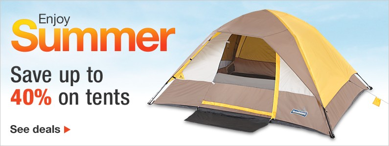 Save up to 40% on tents