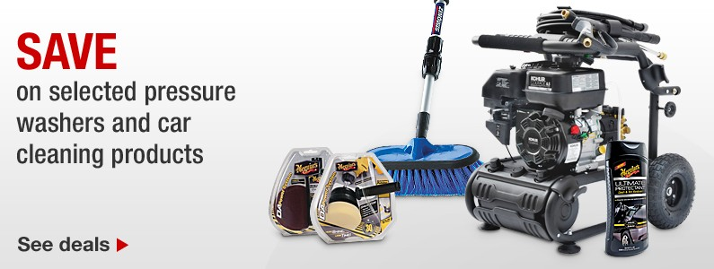 Save on selected pressure washers and car cleaning products