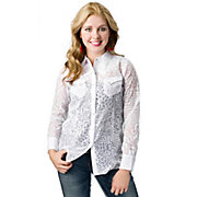 Angie Womens White Animal Burnout Long Sleeve Western Shirt