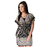 Angie Womens Black with Pink and Yellow Paisley V-Neck Short Sleeve Tunic Dress