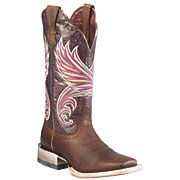 Ariat Fortress Ladies Weathered Brown w Purple Marble Triple Welt Square Toe Western Boots