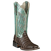 Ariat Nitro Womens Tobacco Caiman Belly w Metallic Teal Top Double Welt Square Toe Exotic Western Boots