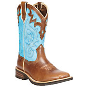 Ariat Unbridled Womens Coyote Brown w Cielo Blue Top Square Toe Western Boots