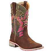 Ariat Rodeobaby Liberty Womens Sueded Chocolate w Pink Military Top Square Toe Western Boot