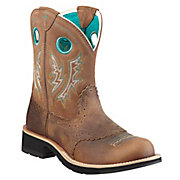 Ariat Fatbaby Cowgirl Ladies Powder Brown w Tan Top Western Boot