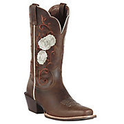 Ariat Rosebud Womens Distressed Brown w Rose Embroidered Upper Square Toe Western Boot