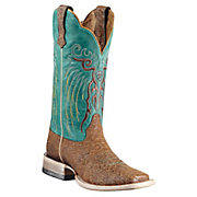 Ariat Mesteno Ladies Topaz Snake Print w Clear Water Blue Top Square Toe Western Boot