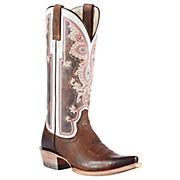 Ariat Womens Weathered Brown Alameda w Regal Print Top Snip Toe Western Boots