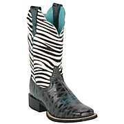 Ariat Ladies Black Anteater Print Quickdraw w Zebra Top Square Toe Western Boot