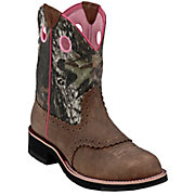 Ariat Ladies Distressed Brown w Mossy Oak Camo Top Cowgirl Fatbaby Western Boot