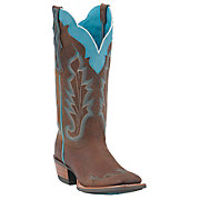 Ariat Ladies Withered Brown w Turquoise Caballera Square Toe Wingtip Western Boots