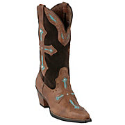 Ariat Heavenly Ladies Brown w Turquoise Inlayed Cross Snip Toe Western Boots