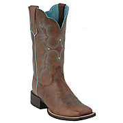 AriatTombstone Ladies Sassy Brown wTurquoise Stitch Double Welt Square Toe Boot