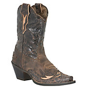 Ariat Ladies Dahlia Distressed Brown wFloral BlackBrown Top Snip Toe Western Boot