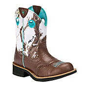 Ariat Fatbaby Cowgirl Ladies Brown Crinkle w Snowflake Camo Top Western Boot