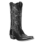 Ariat Palacio Ladies Black w Ornate White Embroidery Pointed Toe Western Boot