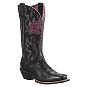 Ariat Runaway Ladies Black Deertan wPurple Fig Overlay Studs Square Toe Boots