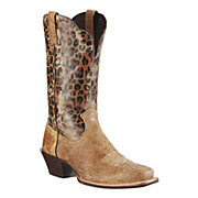 Ariat Legend Ladies Shattered Tan w Leopard Print Top Square Toe Western Boots