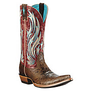 Ariat Presidio Ladies Washed Out Brown w Red Rose Top Pointed Toe Western Boot