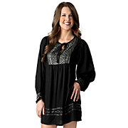 Angie Womens Black with Light Mint Embroidery Long Sleeves Peasant Dress