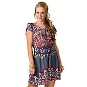 Angie Womens Grey Blue with Red Print Open Back Short Sleeve Dress