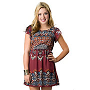 Angie Womens Wine Red with Blue Print Open Back Short Sleeve Dress