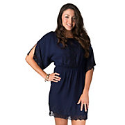 Angie Womens Navy Lace Cold Shoulder 34 Sleeve Dress