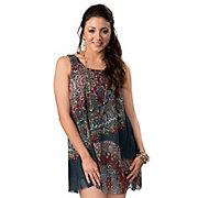 Angie Womens Blue with Red and Yellow Medallion Print Tie Back Sleeveless Tank Chiffon Dress