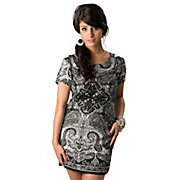 Angie Womens Black Gray and White Paisley Short Sleeve Shift Dress