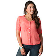 Angie Womens Bright Pink Swiss Dot Sheer Dolman Short Sleeve Fashion Top