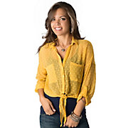 Angie Womens Mustard Yellow Swiss Dot Button Down 34 Sleeve Fashion Top