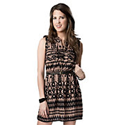 Angie Womens Brown and Black Aztec with Belt Sleeveless Shirt Dress