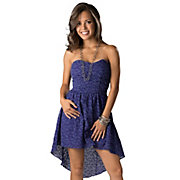 Angie Womens Purple with Allover Embroidery Hi-Lo Strapless Dress