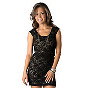 Angie Womens Black Lace Criss-Cross Back Sleeveless Dress