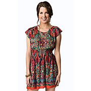 Angie Womens Red and Teal Paisley Smocked Waist Cutout Back Short Sleeve Dress