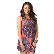 Angie Womens Pink with Purple Medallion Print and Black Ladder Straps Open Cross Back Sleeveless Dress