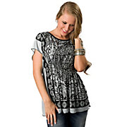 Angie Womens Black and Dusty Blue Bandana Print Short Sleeve Tunic