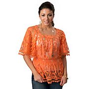Angie Womens Orange Lace with Wide 34 Sleeves Fashion Top