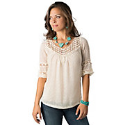 Angie Womens Ivory Swiss Dot and Lace 34 Sleeve Fashion Top