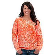 Angie Womens White with Neon Orange Flower Print Long Sleeve Fashion Top