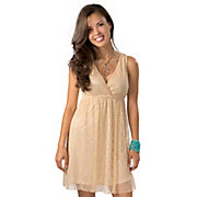 Angie Womens Sand Lace V-Neck Sleeveless Dress