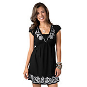 Angie Womens Black with White Embroidery V-Neck Short Sleeve Dress