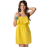 Angie Womens Yellow Eyelet with Ruffle Top Sleeveless Dress
