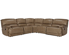 Benson Dk Taupe Leather & Vinyl Small Two-Arm Power Reclining Sectional