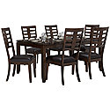 Dark Tone Rectangular Table & 4 Upholstered Chairs