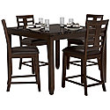 Dark Tone High Table & 4 Upholstered Barstools