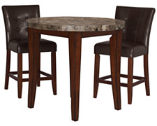 City Lights Round Marble High Table & 2 Barstools