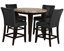 Monark Round Marble High Table & 2 Barstools
