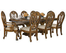 Eden Mid Tone Rectangular Table & 4 Wood Chairs